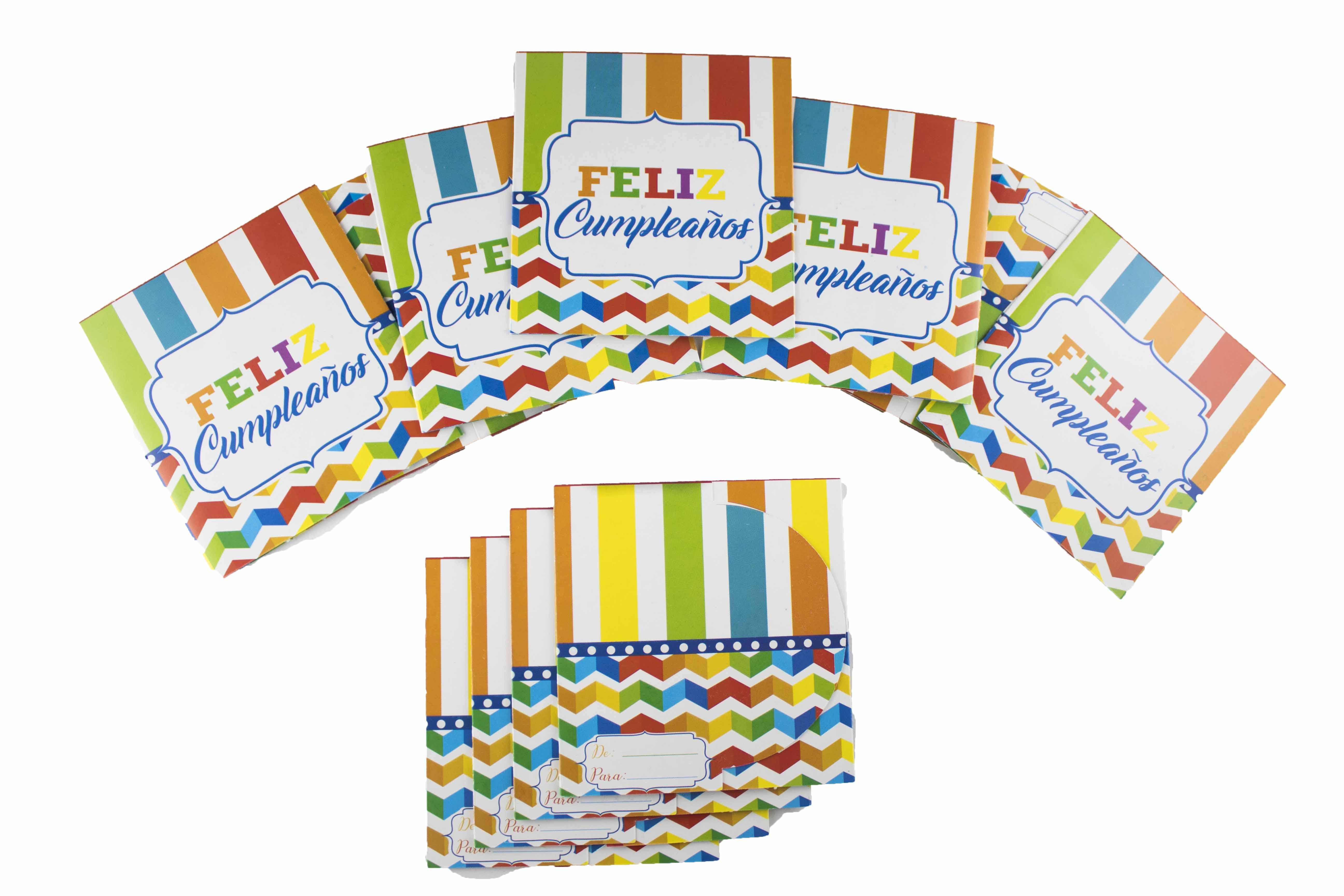 Tarjetas De Invitación Feliz Cumpleaños Multicolor
